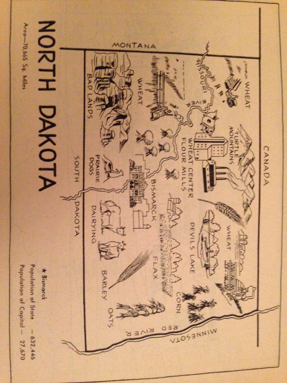 North Dakota Map Art Old Map