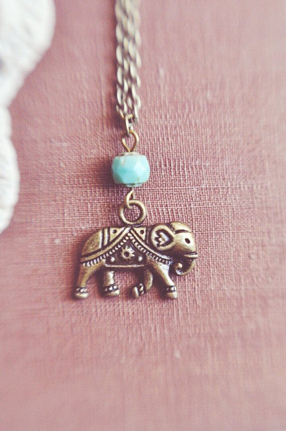 fe7ee07819cf bohemian turquoise elephant necklace by bellehibou on Etsy