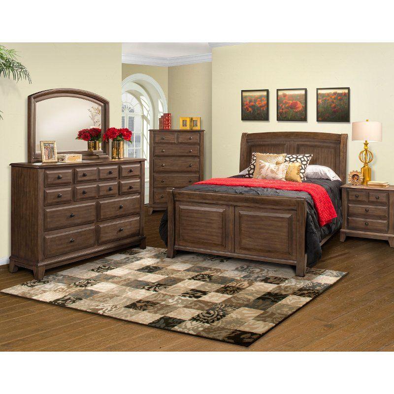 Classic Walnut 4 Piece California King Bedroom Set