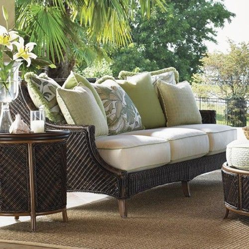 Island Estate Lanai Outdoor Woven Wicker Scatterback Sofa By Tommy