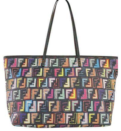 cba9692cdf Fendi Multicolor Zucca Black Tote Bag