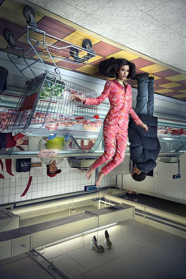Quirky Fashion Series Features Upside-Down Models - Feature Shoot - möbel martin küche