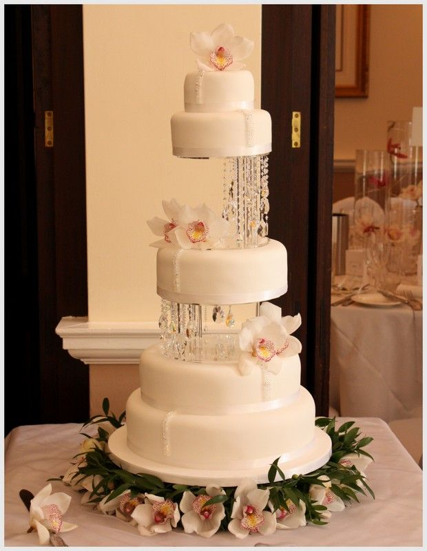 Crystal and orchid wedding cake - elegant simplicity. www.facebook ...