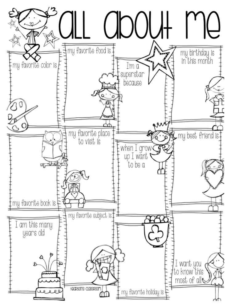 all about me coloring sheet all