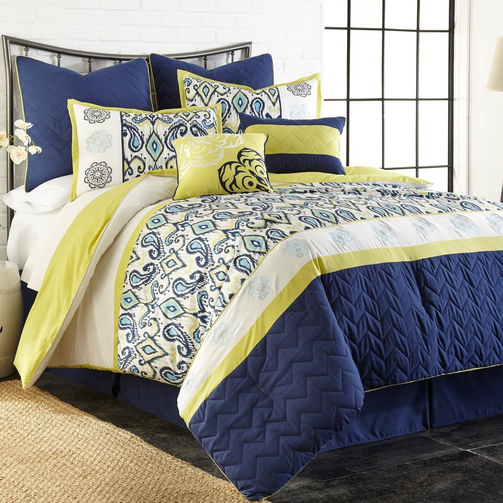 8 Piece King Yellow Blue Comforter Set Embroidered Bridal Gift