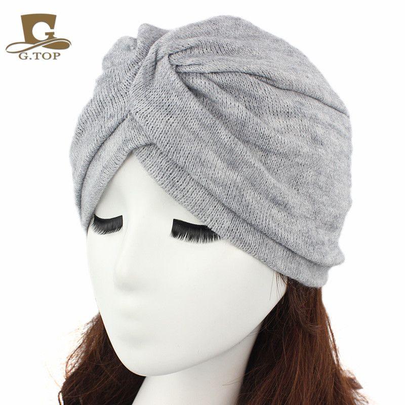 bf3bb8aa8f7 2016 Fashion Women Wool Blending Jersey Turban Full Head Covering ...