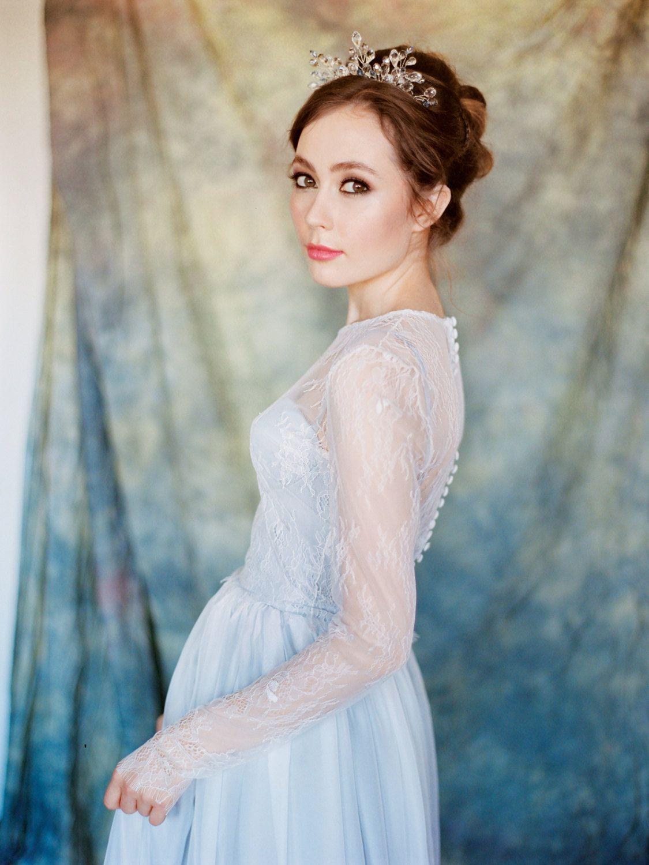 Pegasus grey wedding dress chantilly lace by milamirabridal