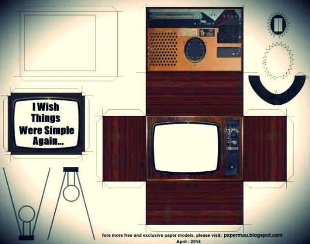 Retro Style Television Paper Model - by Papermau ...