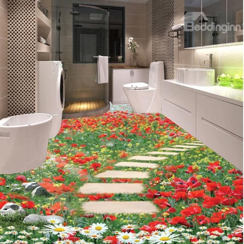 Flowers Stone Path Pattern Home Decorative 3D