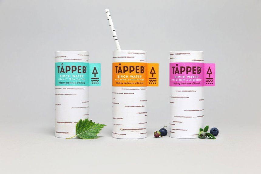 Tapped Birch Tree Water Sustainable Simple Paper Bottle Packaging - fresh blueprint awards winners