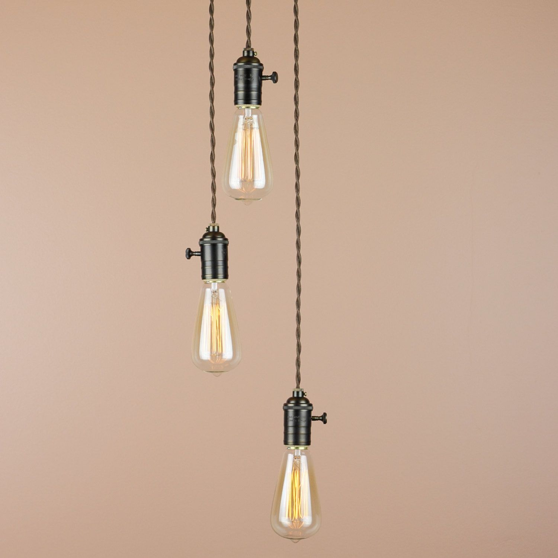 3 Light Chandelier Cascading Pendant Lights With Edison Bulbs Blue Moon On