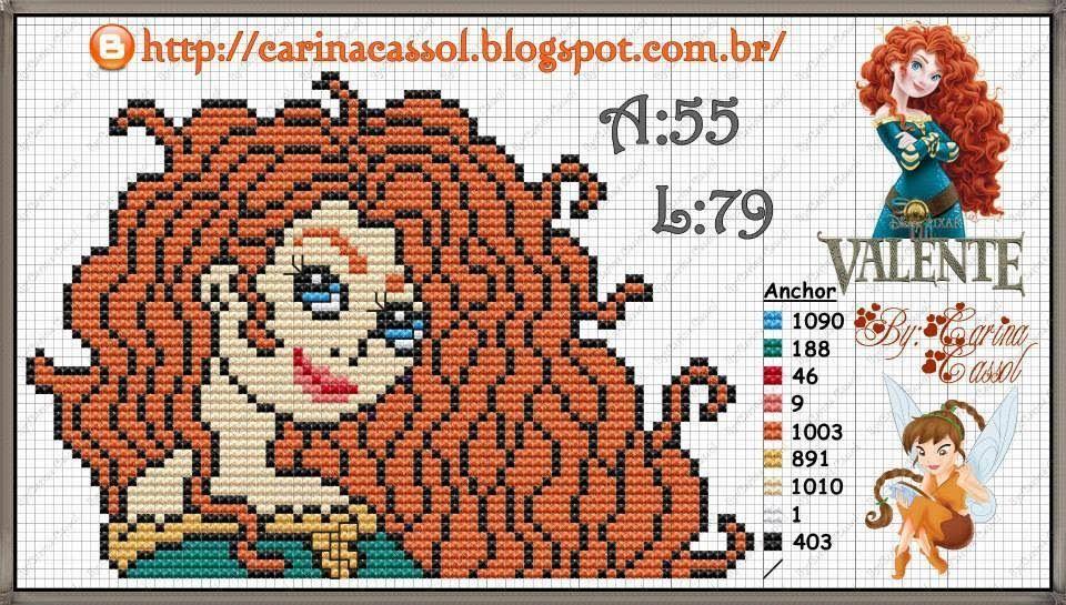 salve a tabela de cores: http://dinhapontocruz.blogspot.com.br/2014/09/princesas-disney-ponto-cruz.html