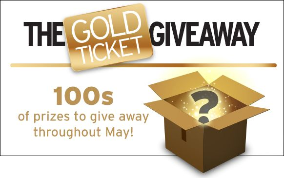 """Cookson Gold: Golden Ticket Giveaway  """"Any order placed throughout May will be entered in to win a golden ticket prize. If you're a lucky customer who finds a golden ticket in your parcel you could win any one of these great prizes."""""""