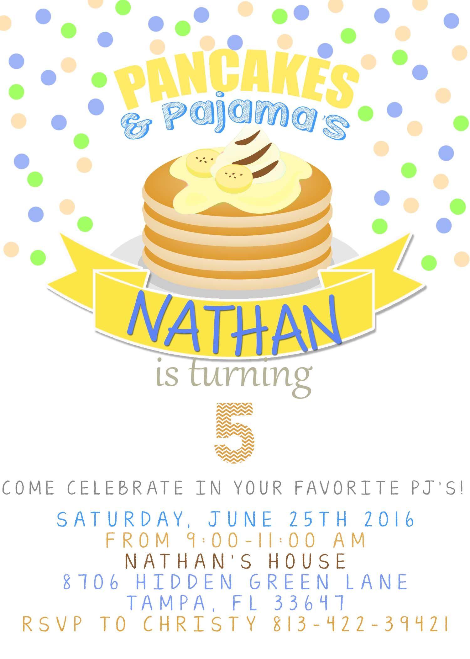 Pancakes And Pajamas Birthday invitation | Boy Birthday ...