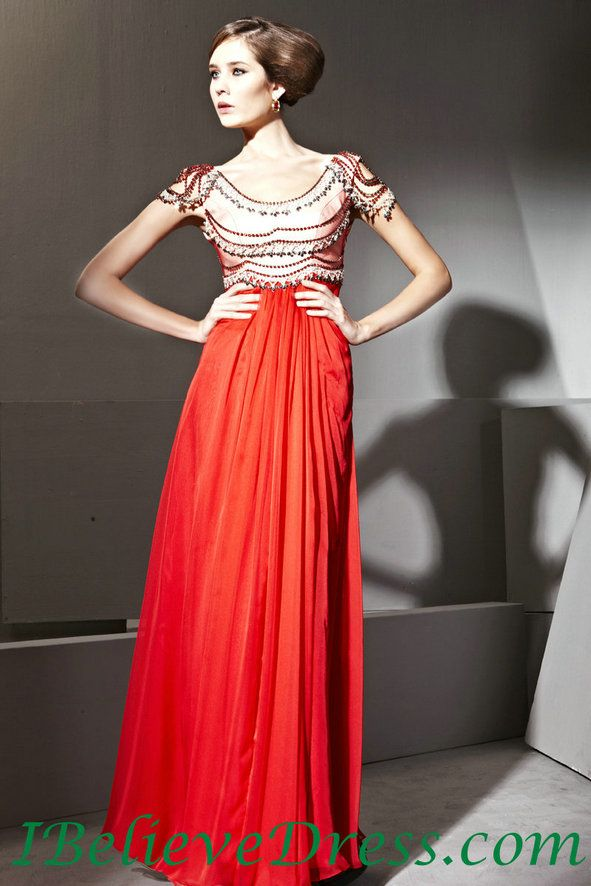 Chiffon Short Sleeves Red Evening Dress Long Patterns For Sale ...
