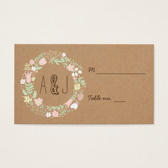 Boho pastel floral wreath rustic wedding place card pastel floral boho pastel floral wreath rustic wedding business card colourmoves