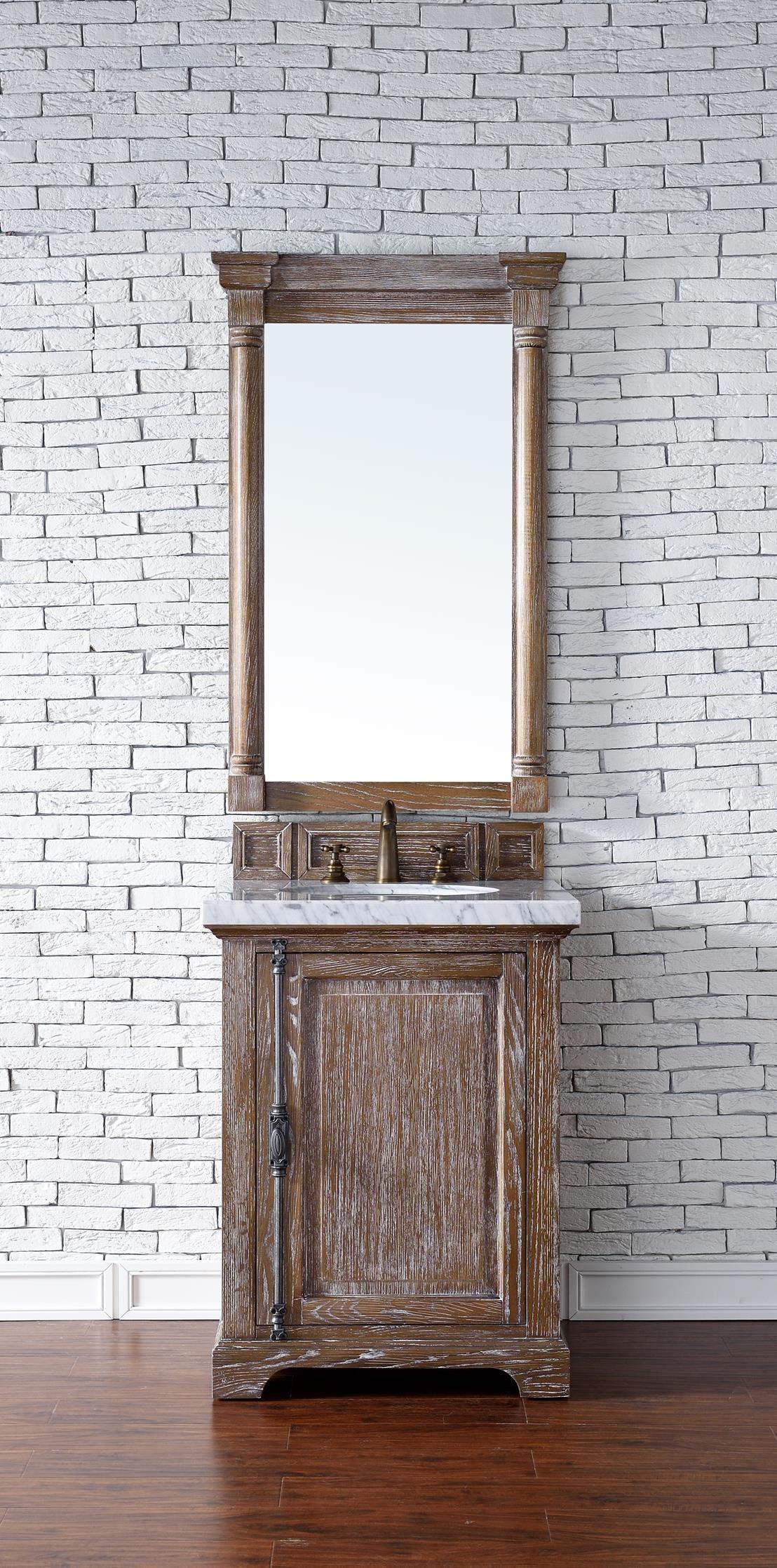 Providence 26 Single Sink Bathroom Vanity Cabinet Driftwood Finish Carrara White Marble Co James Martin Furniture Single Vanity Bathroom Decor Accessories