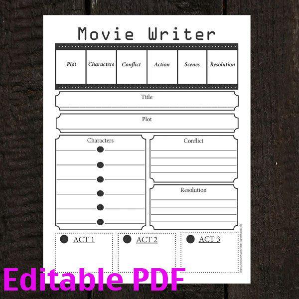 Movie Script Writer Worksheet Editable Instant Download Pdf 8 1 2
