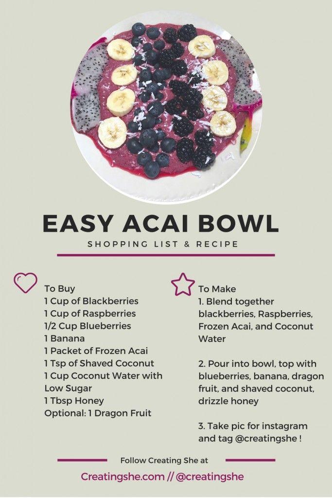 She Makes Easy Acai Bowl Food Acai Bowls Recipe Smoothie Bowl Recipe