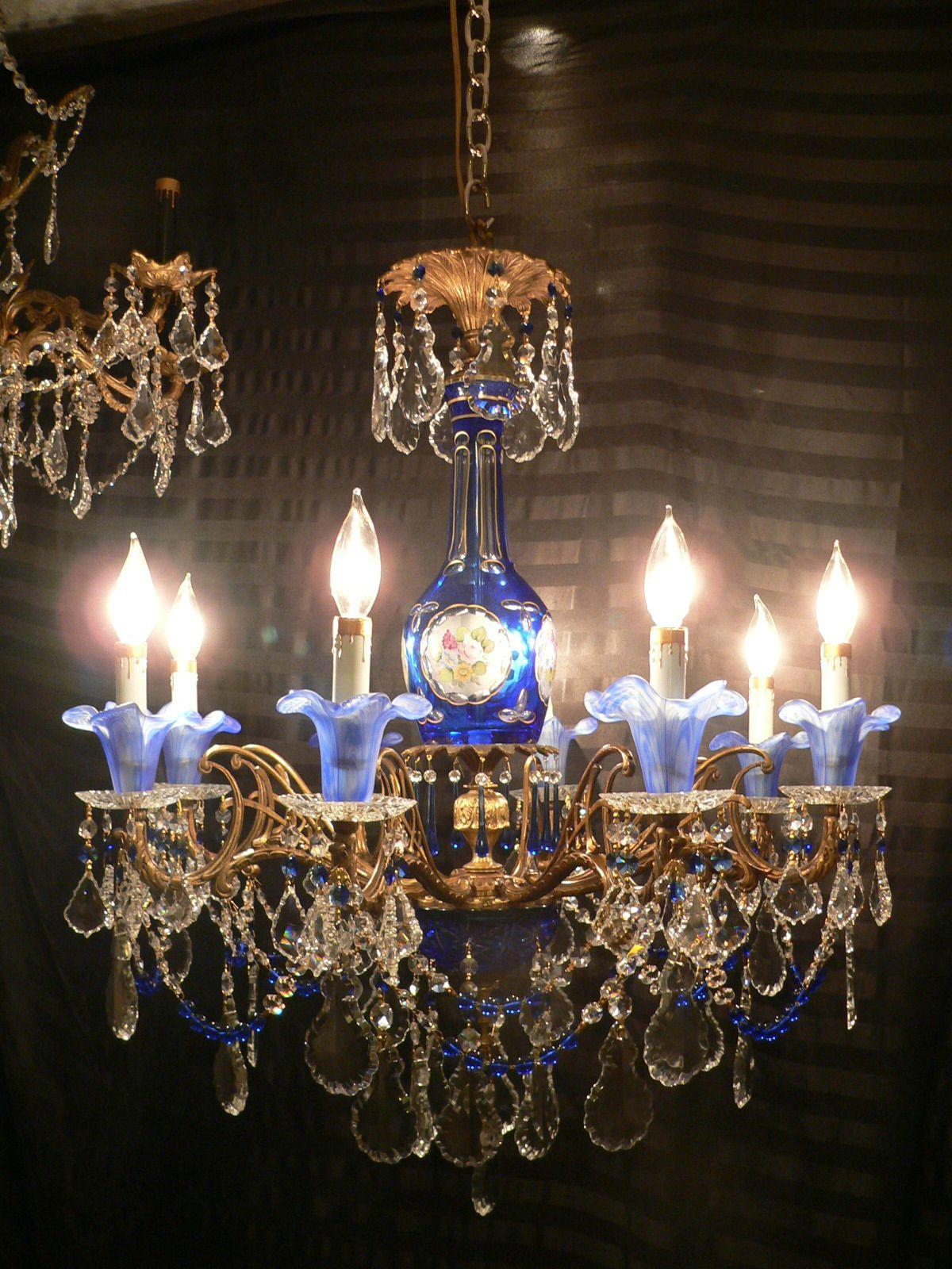 Vintage Brass Cobalt Blue Murano Tulip Bohemian Art Glass Chandelier - Chandelier crystals ebay
