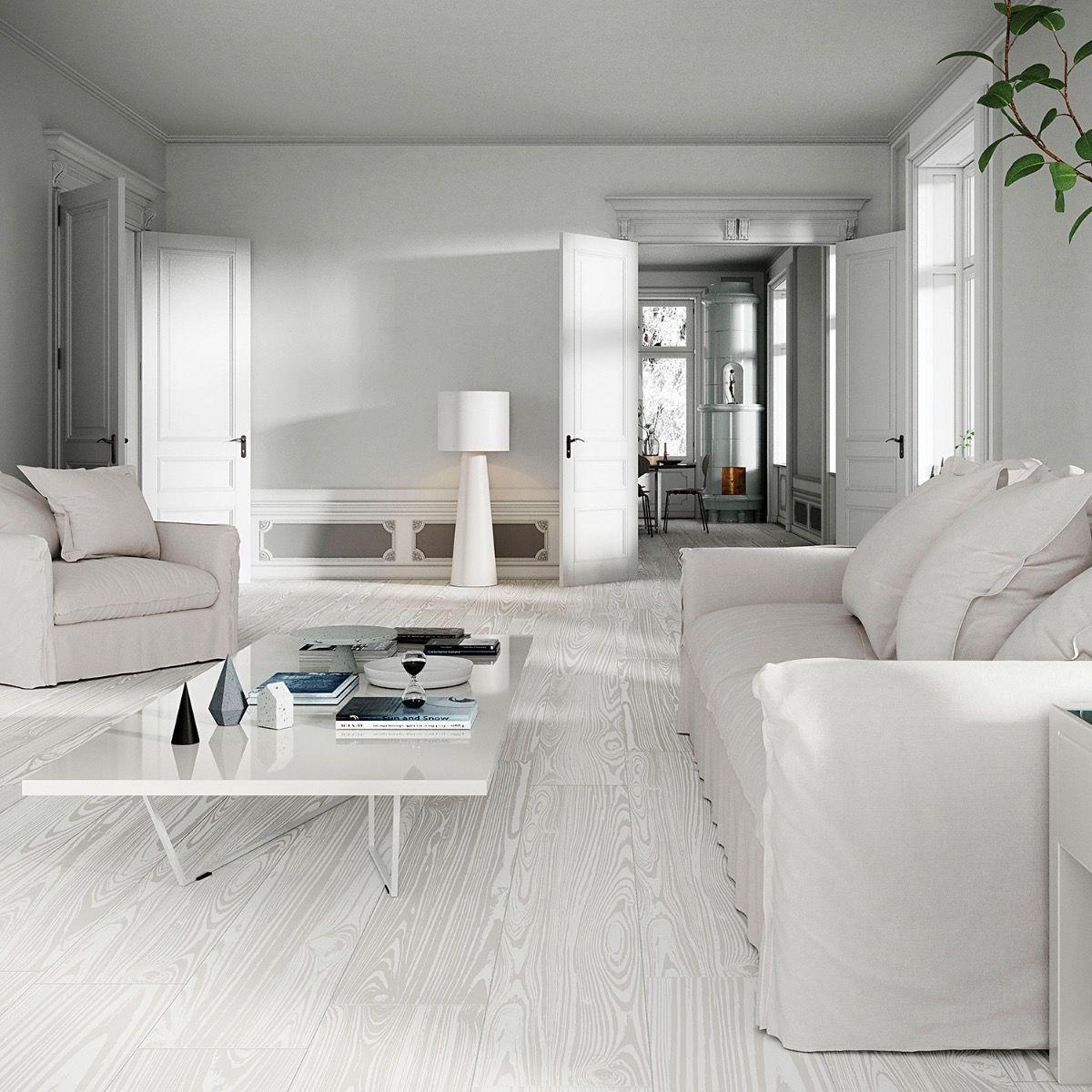 Artwood White 8x48 Matte Porcelain Tile Tile Floor Living Room Porcelain Flooring White Floors White floor living room