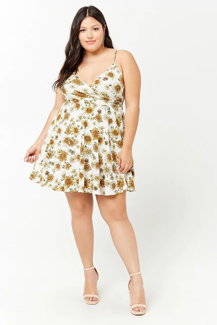 Plus Size Sunflower Print Fit & Flare Dress | Forever21 ...