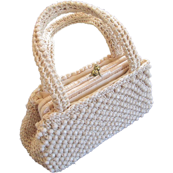 Beaded Straw Purse Vintage 1950s Kelly Bag Handbag Womens Accessory