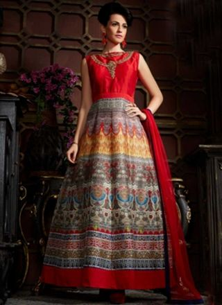 Red Embroidery Work Banglori Silk Net Designer Long Anarkali Gown ...