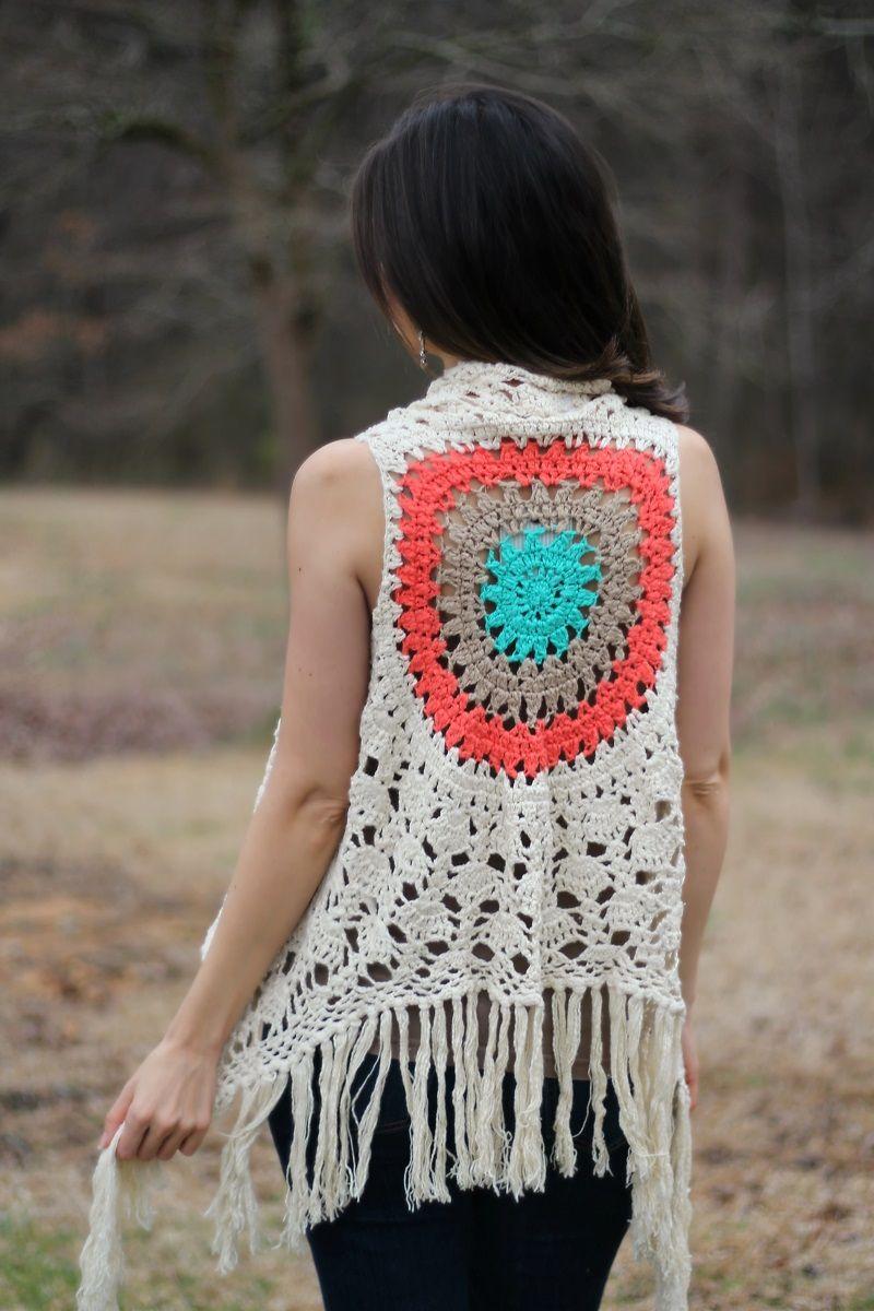 Blu Pepper Crochet Fringe Cardigan Vest with Orange, Tan, and ...