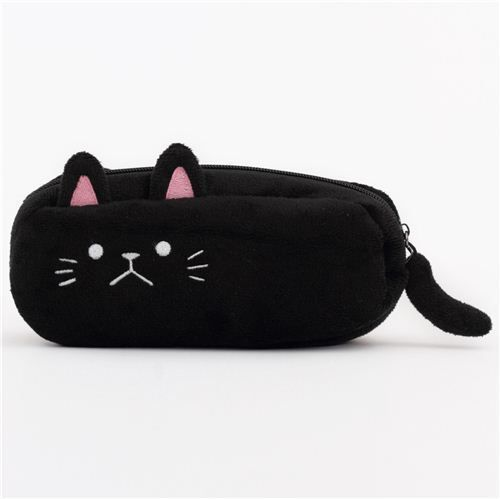 NEW Back to school Black Furry Cat zipped pencil case stationery