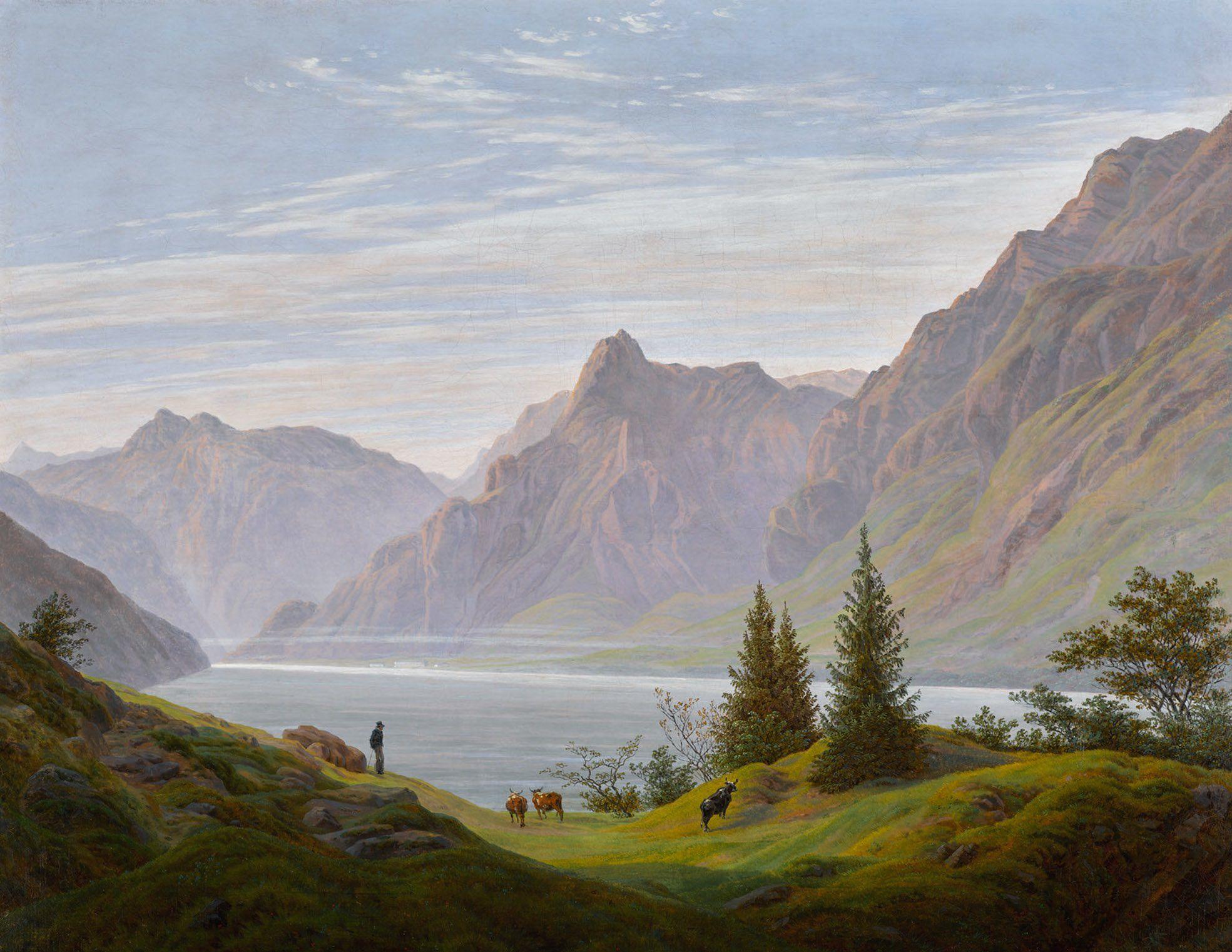 Landscape With Mountain Lake Morning Landschaft Mit Gebirgsee Morgen By Caspar David Frie Caspar David Friedrich Caspar David Friedrich Paintings Landscape