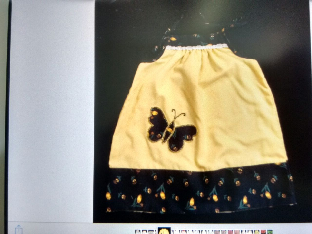 Yellow with black butterfly patch work summer dress