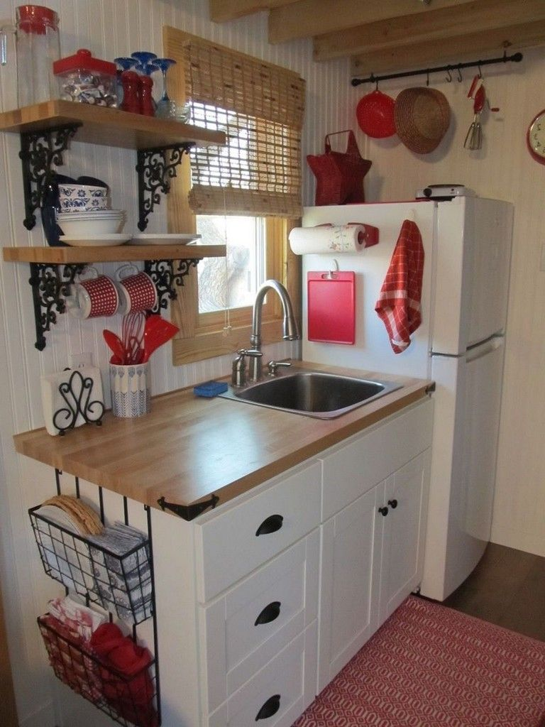 52 Awesome Tiny House Small Kitchen Ideas Kitchens Kitchenideas Kitchendesign Small House Kitchen Ideas Tiny House Kitchen Small Cottage Kitchen