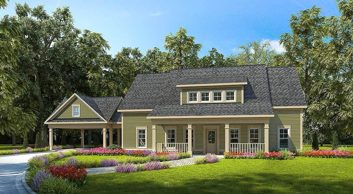 Plan 36080dk 4 Bed Farmhouse With Carport And A Garage Option Carport Farmhouse Plans Modern Farmhouse Plans