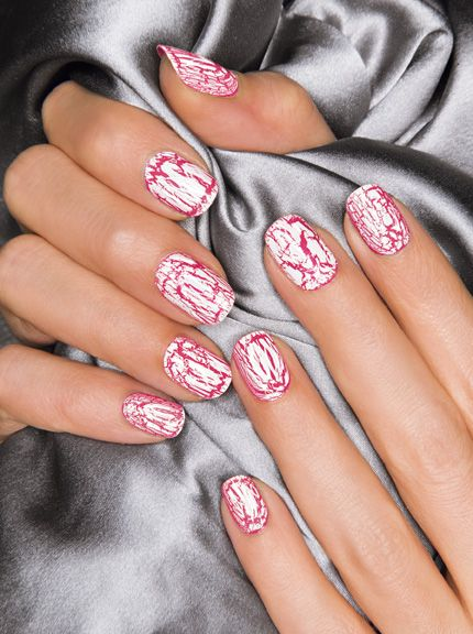 Nail Studio: Mosaic Effects top coat in White over Speed Dry+ in Strawberry