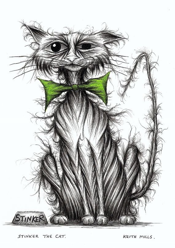 Stinker the cat Horrid smelly kitty needing love by KeithMills, £25.00