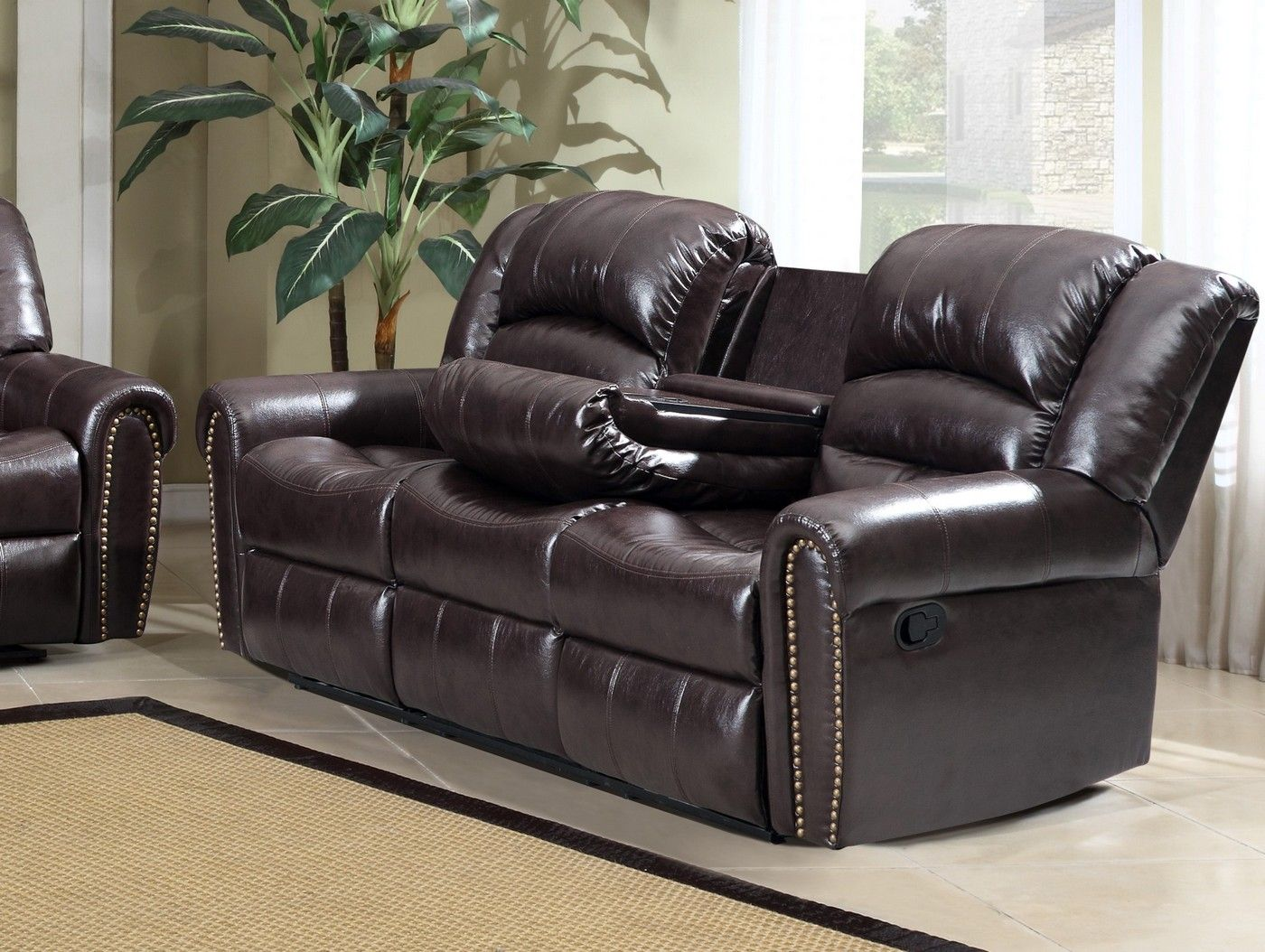 684 Brown Leather Reclining Sofa With Console And Nailhead ...