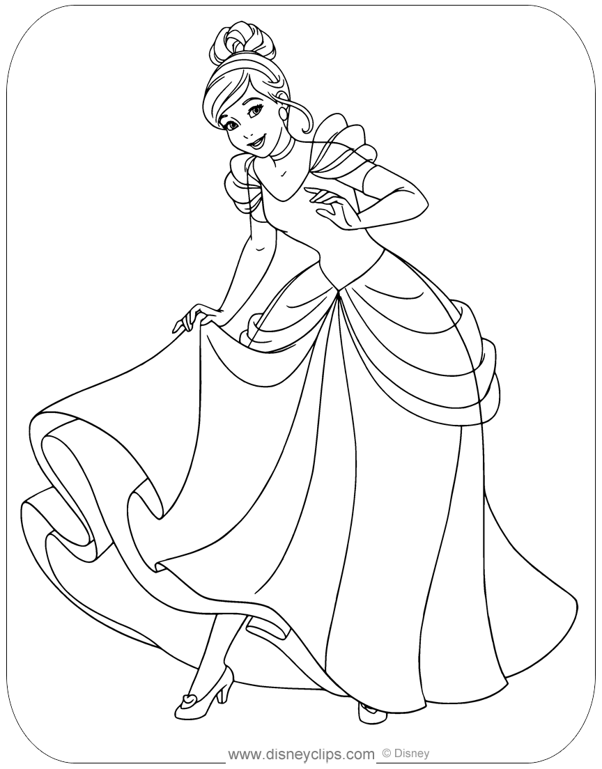 Coloring Page Of Cinderella Showing Off Her Glass Slippers Disney Disneyprincess Cinderella In 2020 Cinderella Coloring Pages Coloring Pages Love Coloring Pages