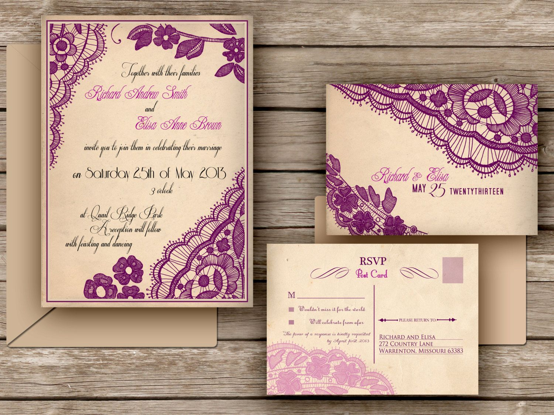 PRINTABLE WEDDING INVITATIONS Lace invitations set - San Antonio ...