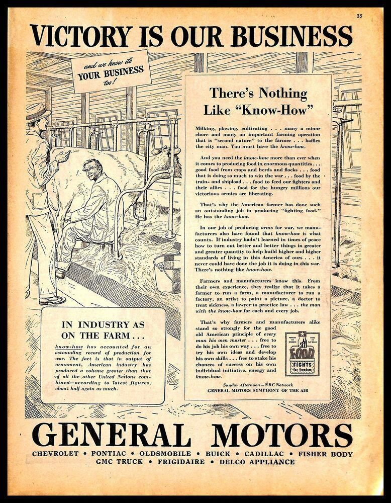1944 Gm General Motors Vintage Print Ad Agriculture Farming