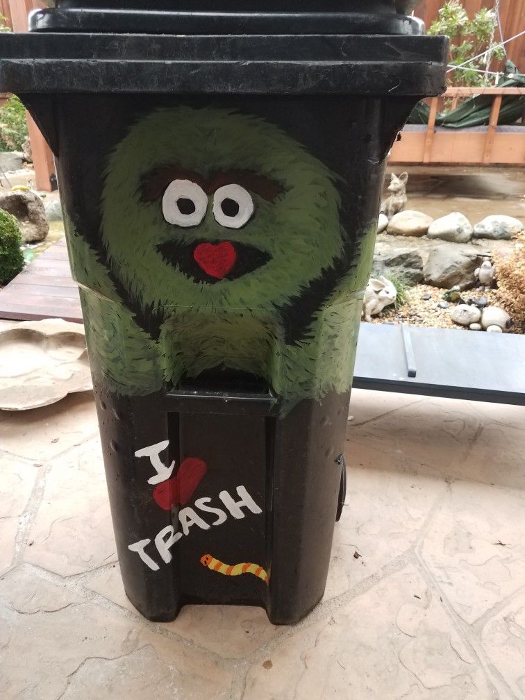Oscar The Grouch Painted Garbage Can Oscar The Grouch