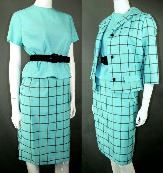 SALE! Vintage 1960s Turquoise Blue Plaid Dress Suit Skirt Top 3pc Set