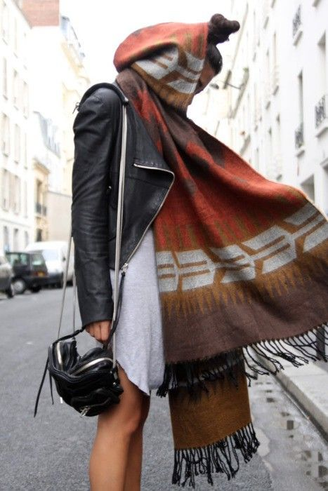 black lather jacket and colored scarf