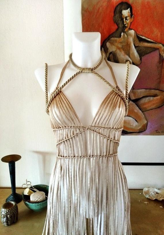 Festival Kleidung, Harness Frauen Outfit, Makramee Kleid mit Seilgurt, Coachella Outfit, brennen Mann Kleidung, Makramee Kleid, Rave Outfit
