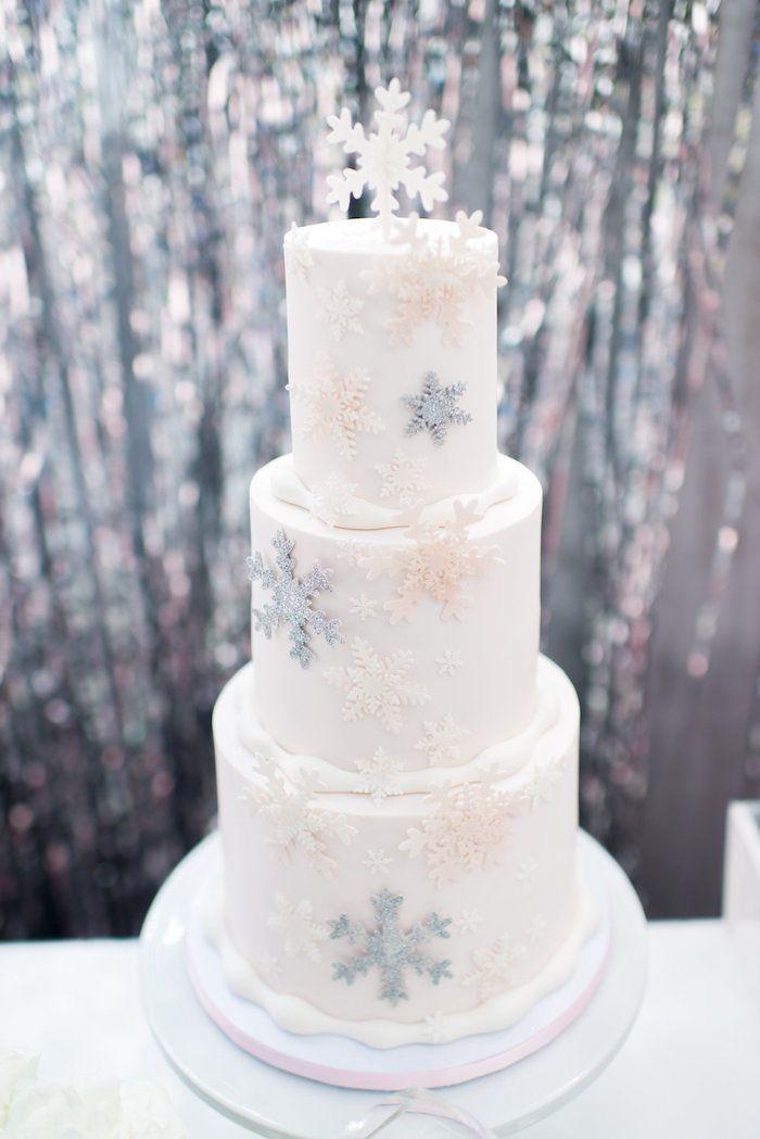 Snowflake Cake From An Elegant Frozen Birthday Party On Karas Party