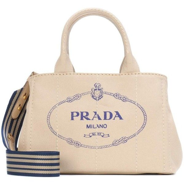 5094dba9f Prada Printed Canvas Tote ($1,010) ❤ liked on Polyvore featuring bags,  handbags, tote bags, beige, pink canvas tote, tote handbags, pink handbags,  canvas ...