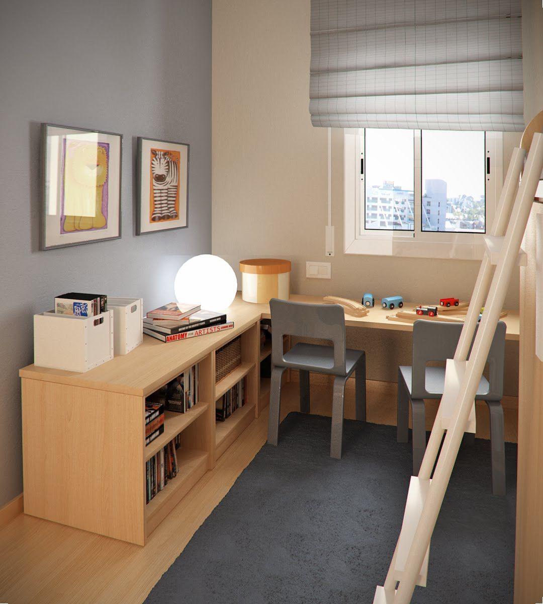 Double loft bed with desk  Double Loft Beds in Teen Small Bedroom Design Ideas By Sergi Mengot