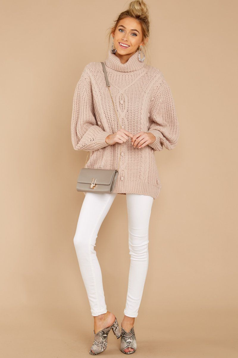 9680c08b5b Cute Beige Turtleneck Sweater - Pink Cable Knit Sweater - Top -  44.00 –  Red Dress Boutique