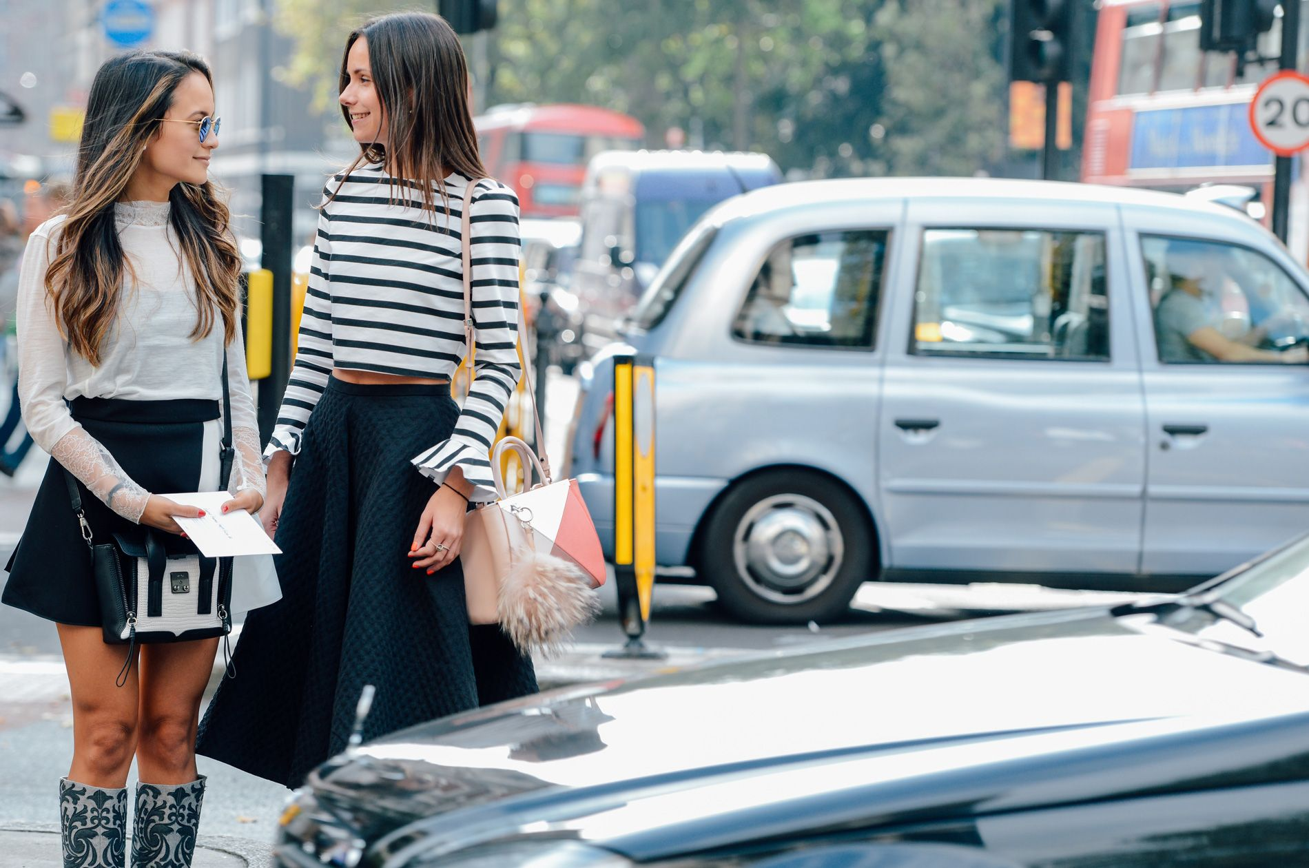 Street Style I outfit inspiration I friends look I spring I flared midi skirt I a line miniskirt I trend I black and white stripes I turtle neck I monochrome outfit I by  tommyton @monstylepin