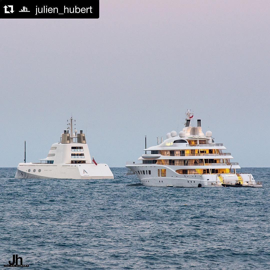 A 119m Built By Blohmvoss And Quantum Blue 104m Built By Lurssen Seen Yesterday Night In Monaco Photo By Julien Hubert Quantumblue Blohmvoss Jachten